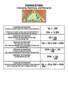 converting fractions decimals percents one sheet