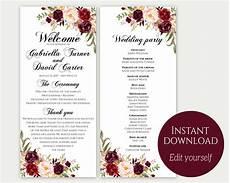 wedding program template ceremony template wedding program