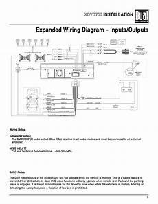 expanded wiring diagram inputs outputs xdvd700 installation dual xdvd700 user manual page