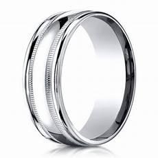 benchmark men s wedding ring in 950 platinum with milgrain 6mm
