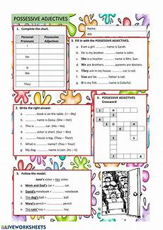 possessive adjectives english as a second language esl worksheet