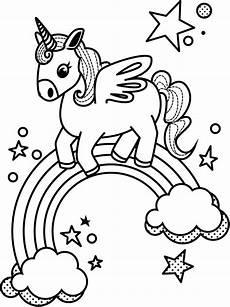 Malvorlage Regenbogen Einhorn Unicorn And Rainbow Coloring Page Free Printable
