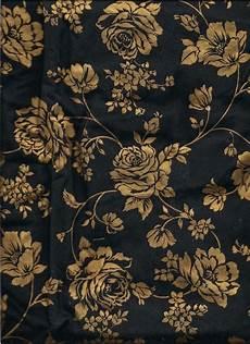 Stoff Mit Ausgefallenem Blumenmuster - black and gold floral print fabric 2 yards 100 cotton
