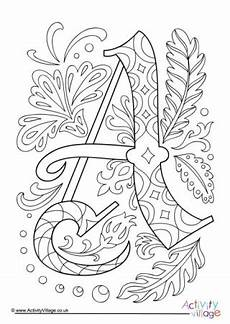 illuminated alphabet colouring pages