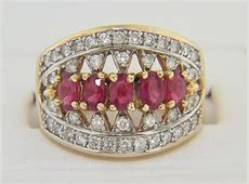Vintage Oval Ruby & Diamond Open Design Ring in 14k Yellow