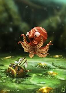 Malvorlagen Unterwasser Tiere Lustig Der Kraken Kunstdruck Barak Ashraf Niedliche