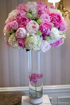 pink white and green wedding tall centrepieces