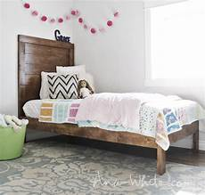 white simple planked wood bed diy projects