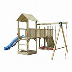 aire de jeux avec toboggan balan 231 oire portique enfant aire de jeux compl 233 te en bois avec 2 balan 231 oires 1 toboggan 1 mur