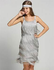 belted gray 1920s fringe gatsby dress retro stage chic