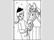Kleurplaat Meisje bij haar paard   Kleurplaten.nl