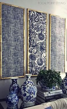 Diy Indigo Wall With Framed Fabric Diy Wall Decor
