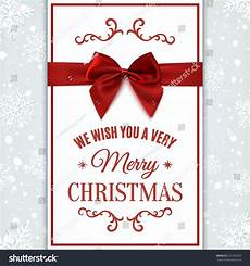we wish you merry christmas greeting card with bow invitation flyer or brochure template
