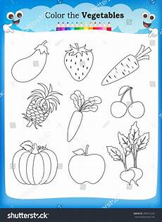 kids worksheet fruits vegetables stock vector 286512224