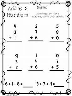 10 adding 3 numbers worksheets kdg 1st grade math by