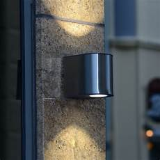 lutec gemini small 9w exterior led up and down wall light in stainless steel fitting style