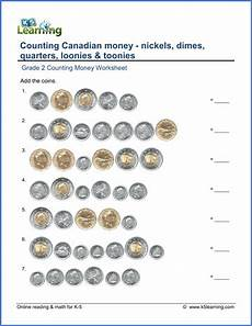 grade 2 money worksheets counting canadian coins including toonies k5 learning