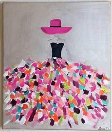 Tableau Moderne Femme Robe Coloree Tableau Multicolore
