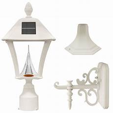 gama sonic baytown solar outdoor led light bright white leds pole wall kit white