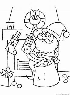 coloring pages of santa claus putting a into
