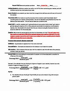 percent yield and stoichiometry notes and practice problems worksheet