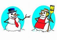 malvorlage schneemann und schneefrau bild schneemann und schneefrau kostenlose bilder zum