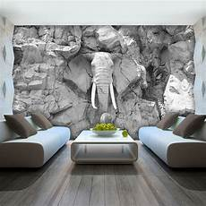 vlies fototapete tapete foto bild elefant grau wand stein