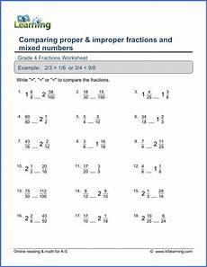4th grade math worksheet improper fractions grade 4 math worksheet comparing fractions and mixed