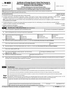 irs form w 8eci download fillable pdf or fill online