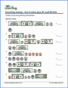 adding money worksheets grade 3 2522 grade 3 money worksheet counting the 4 coins plus 1 and 5 bills k5 learning