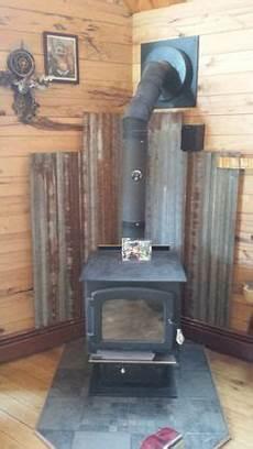 Corrugated Tin Heat Shield Wood Stove
