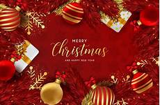 free vector merry christmas and happy new year background with realistic christmas elements