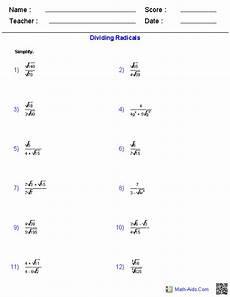 algebra worksheets radicals 8552 dividing radical expressions worksheets algebra 2 worksheets radical expressions free