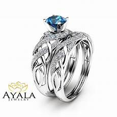 london blue topaz bridal in 14k white gold unique