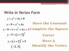 how to convert a quadratic equation into vertex form