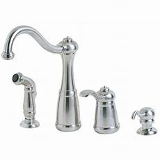 pfister faucets kitchen pfister marielle single handle side sprayer kitchen faucet and soap dispenser in stainless steel
