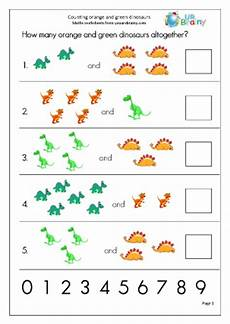 count 2 sets of objects up to 10 dinosaurs counting