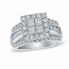 2 00 ct t w quad princess cut diamond engagement ring in