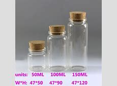 50/100/150ML Clear Glass Bottles With Corks Small Vials