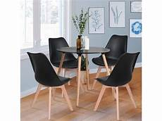Ensemble Table 224 Manger Ronde Et 4 Chaises Scandinave Bois
