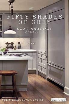 this modern sleek gray kitchen color scheme features gray shadows paint color by ppg voice of