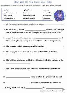 free printable cells worksheets fill in the blanks biology cytology fun science science