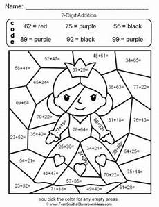 addition coloring worksheets for grade 1 12972 2nd grade go math 4 6 2 digit addition color by numbers go math math worksheets 2nd