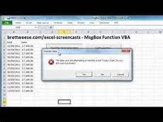 excel vba msgbox function youtube