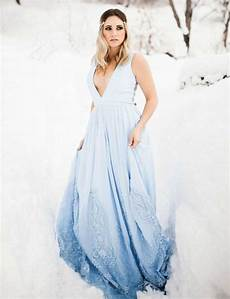 picture of a sleeveless plunging neckline ombre blue wedding dress with lace appliques and