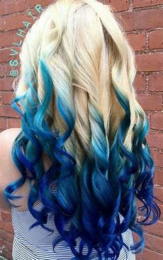 Royal Blue Ombre Dyed Hair Color Blue Ombre Hair