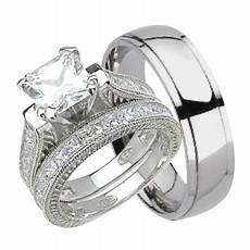 his and hers wedding ring matching trio wedding bands for him titanium and sterling