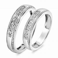 1 3 ct t w diamond his and hers wedding band 10k white gold my trio rings wb517w10k
