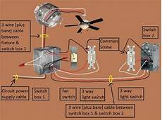 White And Black Two Wire Wiring Diagram Insulated by Power Switch Light 3 Way Fan 1 Fan Light Switched