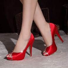 Rote High Heels - silk satin peep toe platform pumps with high
